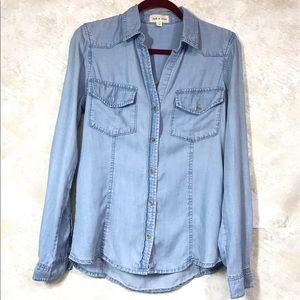 "Anthro"" Cloth & Stone Cambray Button Up Shirt Sz S"